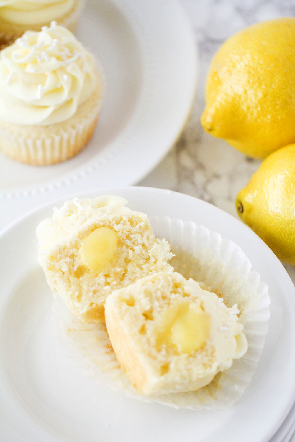 These lemon curd cupcakes are the perfect balance of sweet and tart, and so delicious!