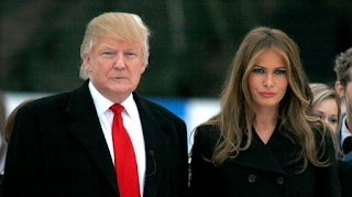 Foto Donald Trump hadir dengan istrinya Melania Trump