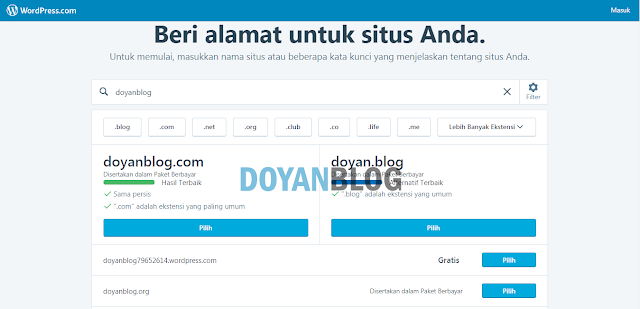 kelima pilih alamat blog wordpress