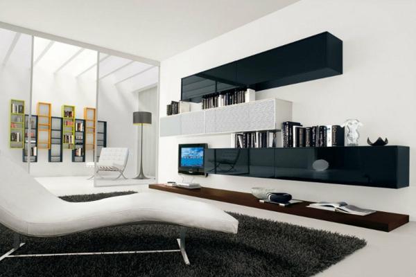 Salas minimalistas en blanco y negro colores en casa for Casa minimalista interior negro