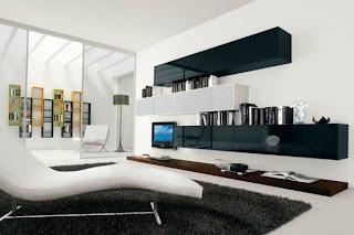 Sala minimalista blanco negro