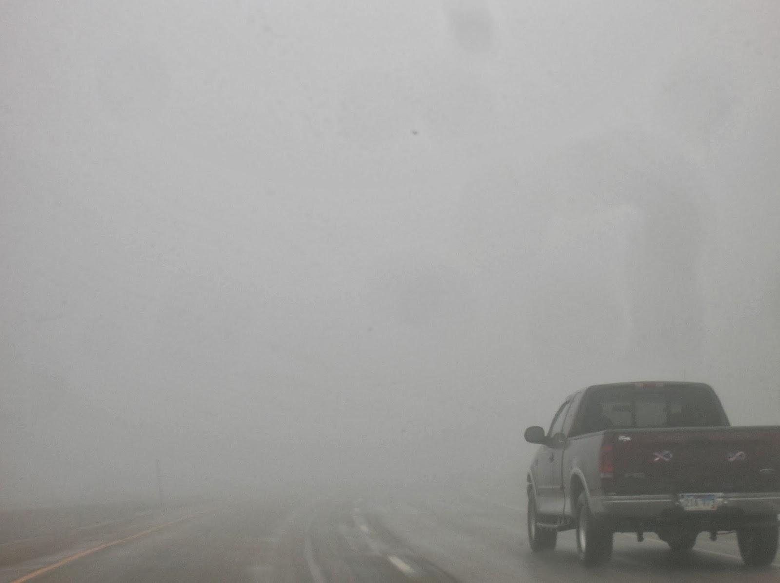 Truck lost in the fog in south dakota