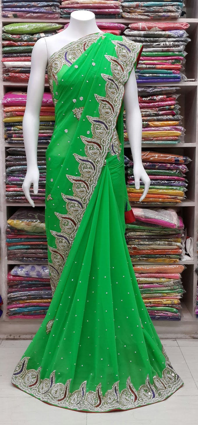 mango green fully hand work saree all over hand work border ston jari kasab and much more by sharmili saree
