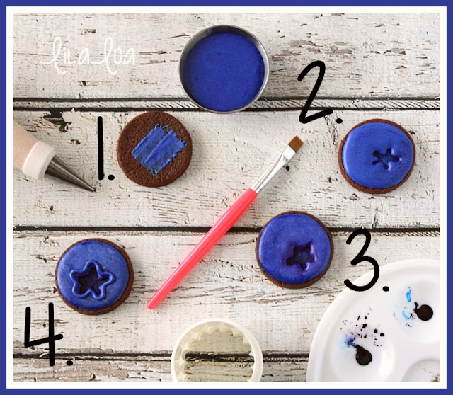 Blueberry sugar cookie decorating tutorial step-by-step