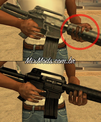 gta sa san mod original vanilla weapons fix position retex hd m4