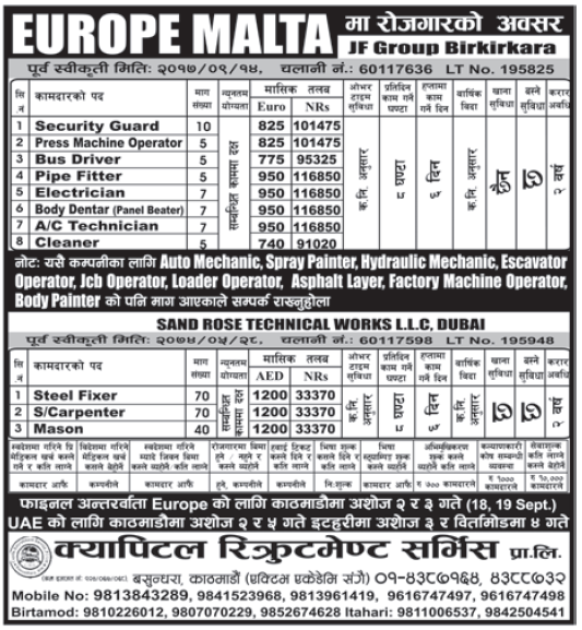 Jobs in Europe Malta and Dubai for Nepali, Salary Rs 1,16,850