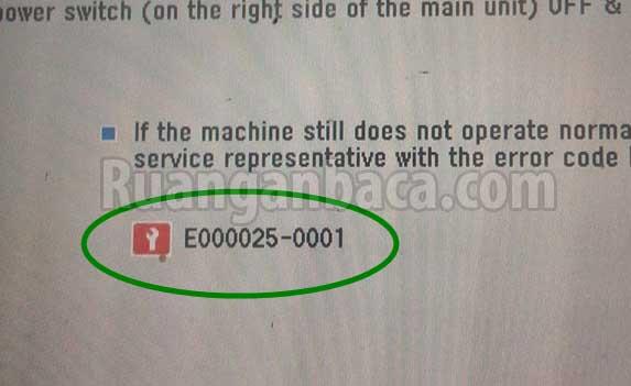 Cara Memperbaiki Error E00025-0001 Mesin Fotocopy canon IR