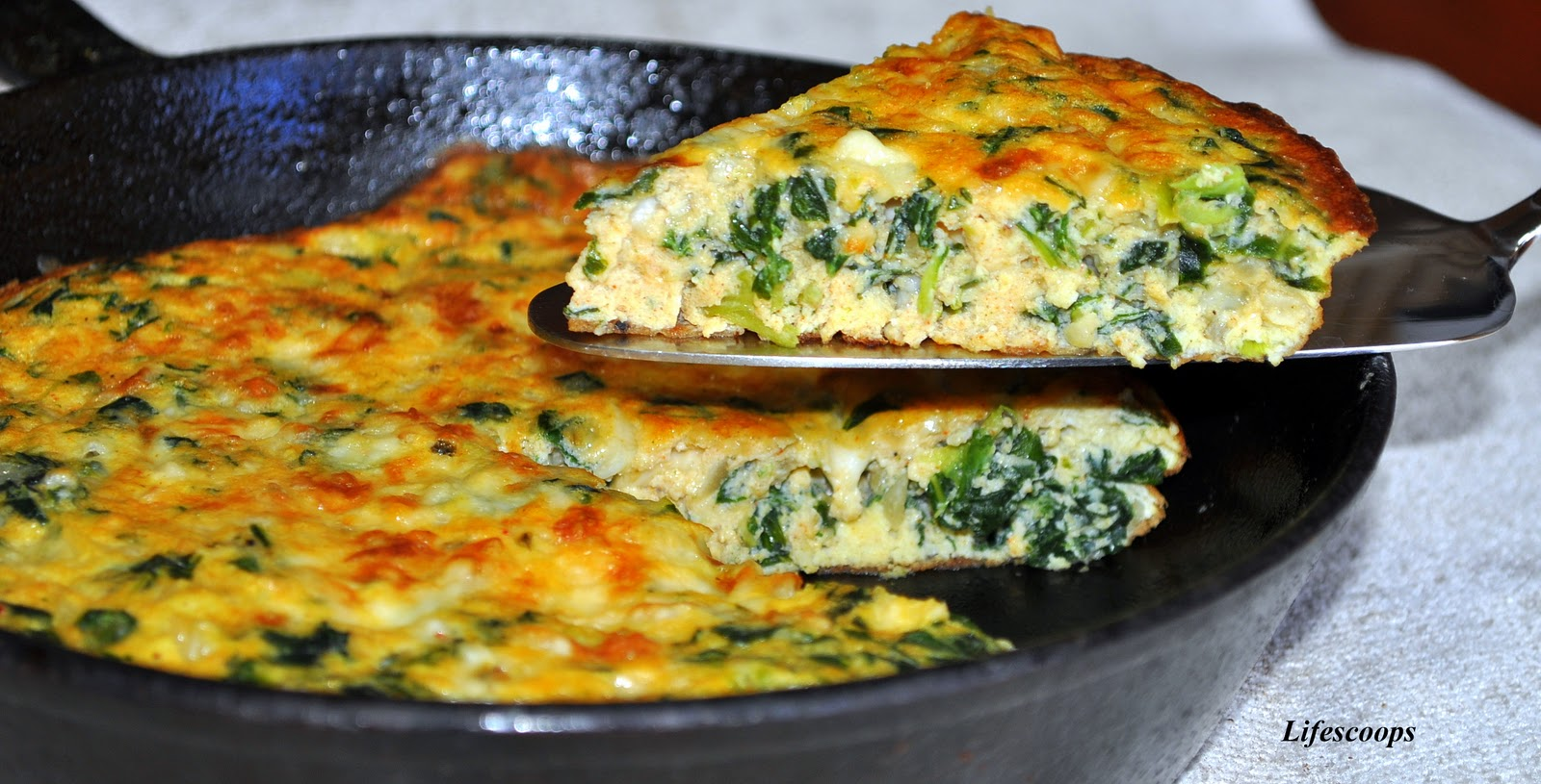 Life Scoops Frittata With Collard Greens And Cottage Cheese