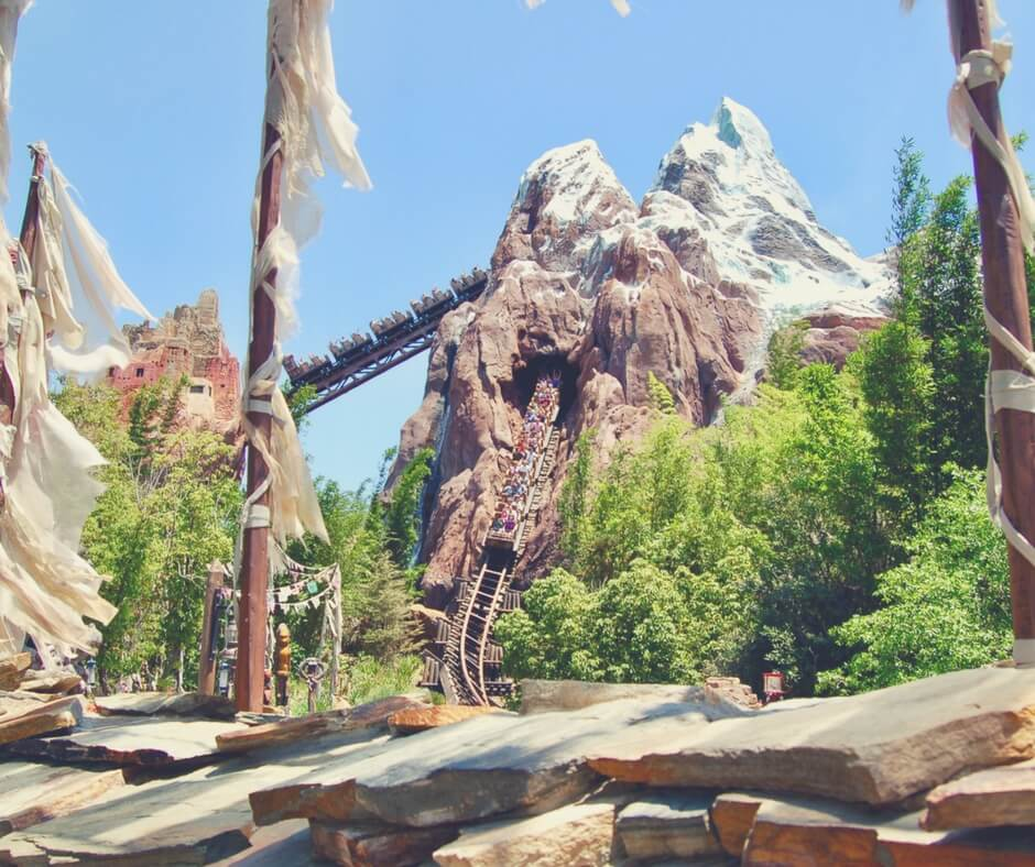 A photo fo Expedition Everest in Animal Kingdom, Walt Disney World. A train is coming out of the mountain and people in the train have their hands in the air. The sun is shining.