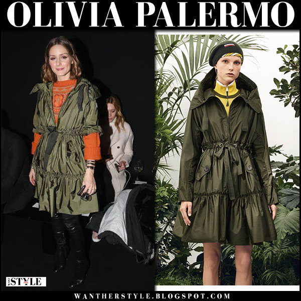 Olivia Palermo in green ruffled belted coat moncler milan fashion week outfits 2018