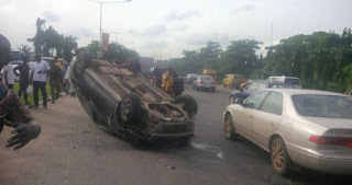 Car somersaults in Lagos