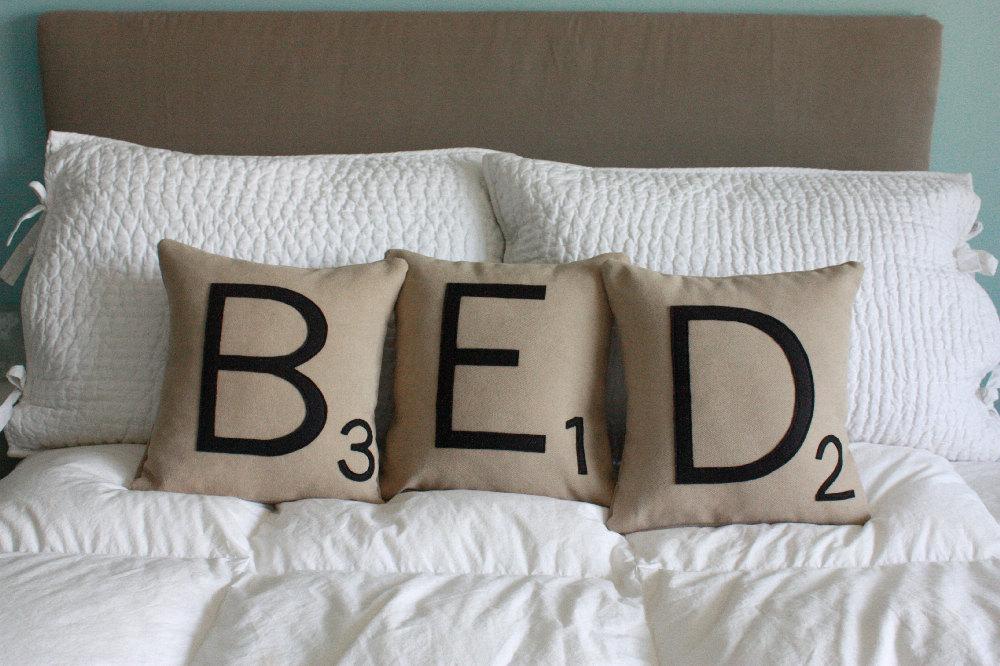 explore. dream. discover.: Scrabble Letter Pillows