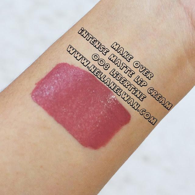 make over intense matte lip cream 008 libertine swatch nellanelwan