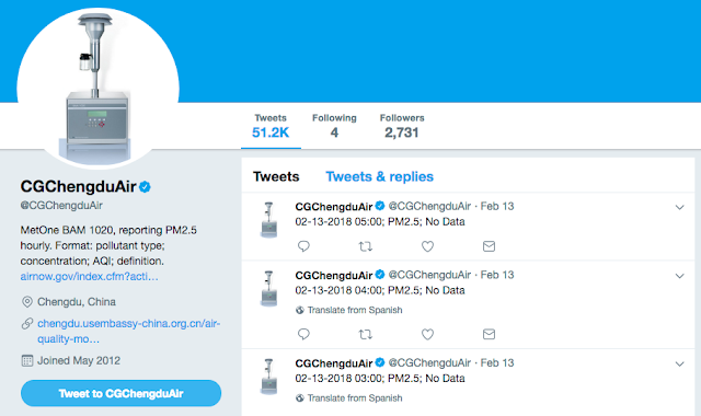 CGChengduAir Twitter account page for air quality reporting