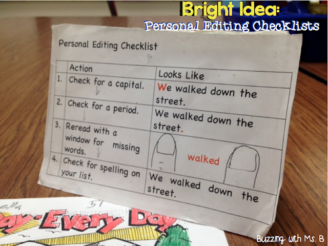 Struggling writers often have trouble figuring out how to edit their writing independently. They often don't notice spelling, capitalization, punctuation, and grammar mistakes, or even know they should be looking for them! Personal Editing Checklists are an easy strategy to help students edit their writing on their own before they confer with you!