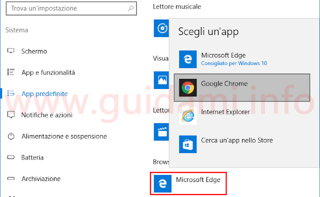 Windows 10 cambiare browser predefinito Edge