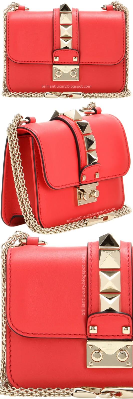 Brilliant Luxury ♦ Valentino Garavani Lock mini red leather shoulder bag