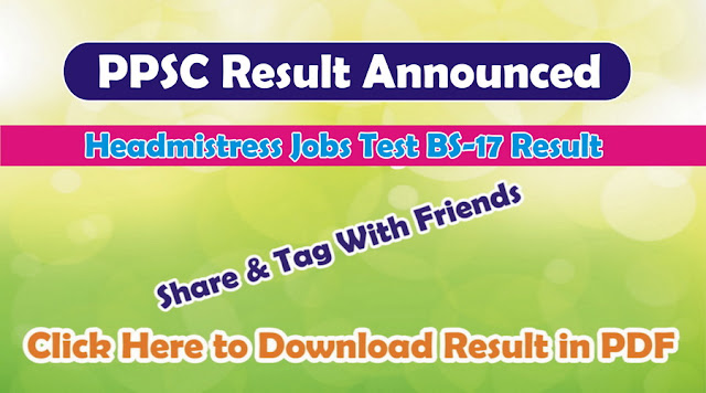 PPSC Headmistress jobs result