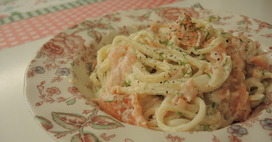 白汁煙三文魚扁意粉 Linguine with Smoke Salmon and Cream Sauce
