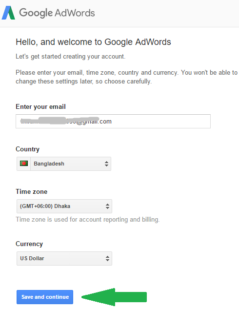 Creating an Adword account