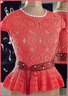 вязаная крючком блуза с баской Анны Ру