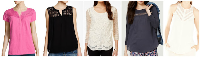St. John's Bay Short Sleeve Lace Yoke T-Shirt $15 (regular $26) Daniel Rainn Lace Shoulder Sleeveless Top $25 (regular $68) Style & Co Lace Blouse $32 (regular $55) LOFT Lacy Mixed Media Top $35 (regular $50) BCBGMaxAzria Jay Illusion Lace Neck Top $79 (regular $158) FYI, I was able to get this BCBG top from ThredUp for under $20!