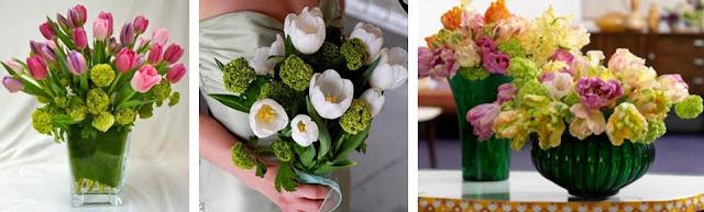 Viburnum and Tulip bouquets
