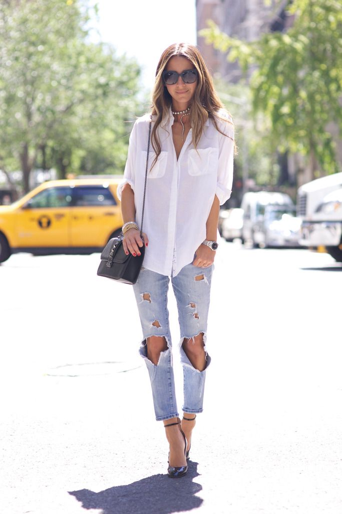 Something Navy - White Button Down + Ripped Jeans