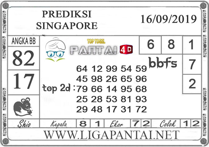 "PREDIKSI TOGEL ""SINGAPORE"" PANTAI4D 16 SEPTEMBER 2019"