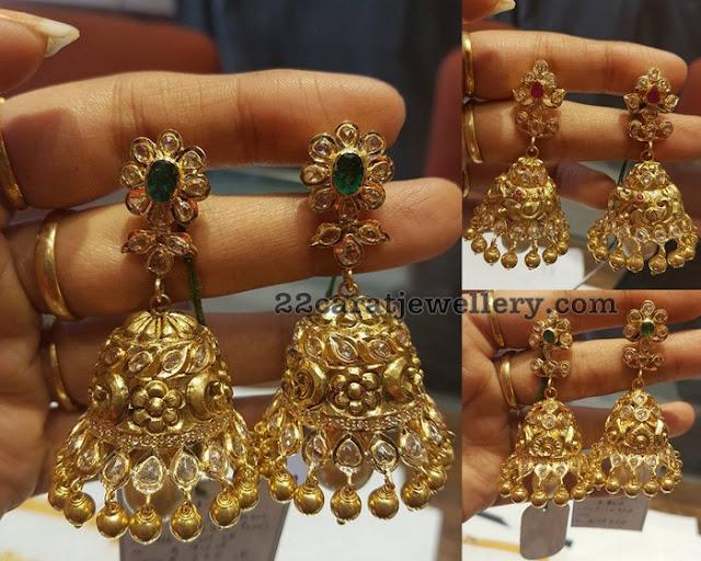 Uncutdiamond jhumkas by Bhavani Jewellers