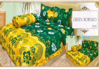sprei lady rose motif Green Borneo