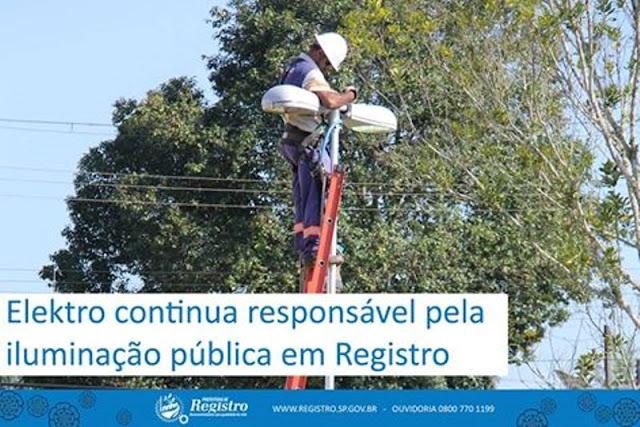 Elektro continua responsável pela iluminação pública em Registro-SP