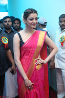 Kajal Aggarwal in Red Saree Sleeveless Black Blouse Choli at Santosham awards 2017 curtain raiser press meet 02.08.2017 010.JPG