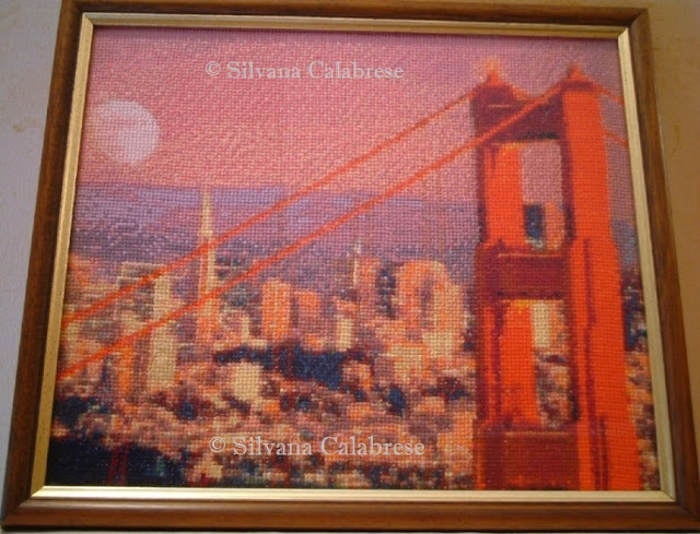Golden Gate Bridge, cross-stitch embroidered