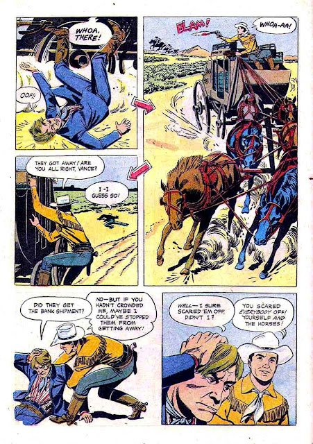 Johnny Mack Brown / Four Color Comics #922 dell western comic book page art by Russ Manning