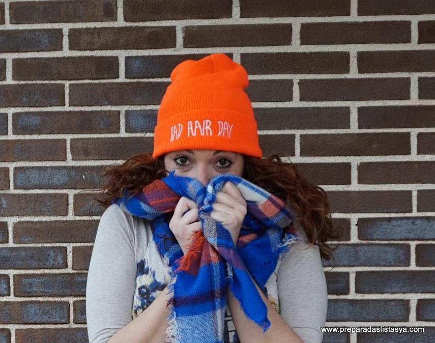 Bufanda cuadros naranja y azul