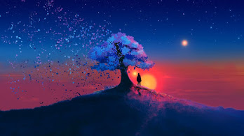 Sunset, Scenery, Landscape, Tree, Digital Art, Illustration, 4K, #4.2017