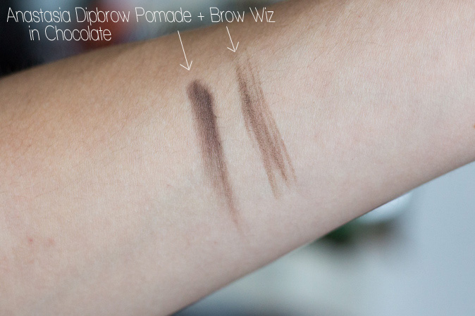 anastasia dipbrow pomade and brow wiz in chocolate review swatches