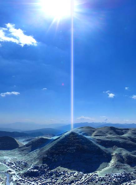 Energy beam coming from a Pyramid.