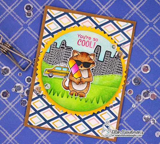 Cat and Ice Cream Card by Ellen Haxelmans | Newton's Summer Treats Stamp Set by Newton's Nook Designs #newtonsnook #handmade