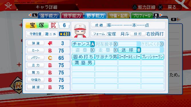 パワプロ 星 名将甲子園 選手能力 宝塚月斗