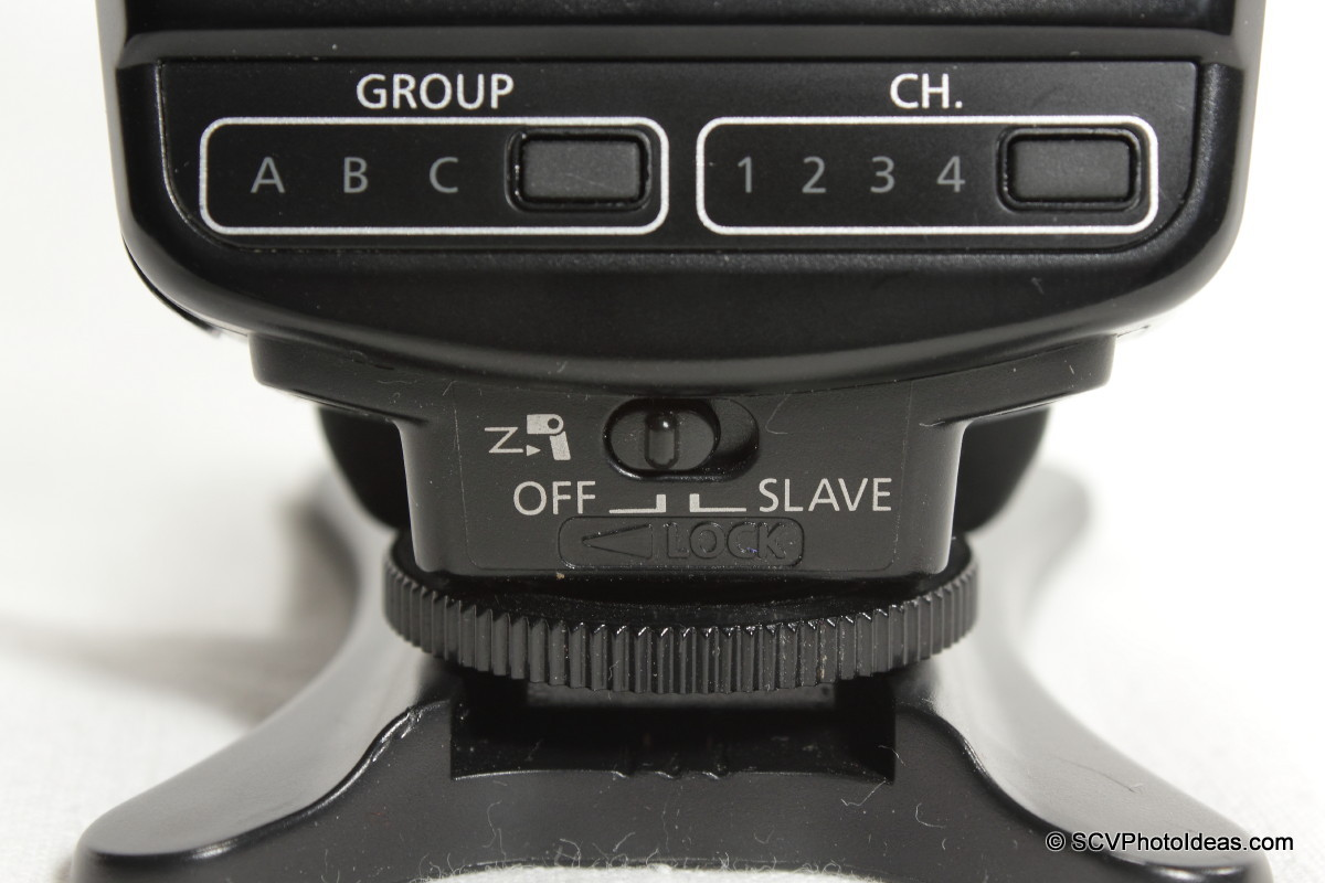 Canon Speedlite 420EX slave switch & group/channel selectors
