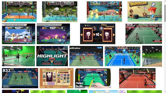 Badminton Bintang: tampilan gameplay dari samping, dengan ukuran/size yang mini