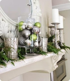 silver, white and green Christmas decoration with Christmas balls