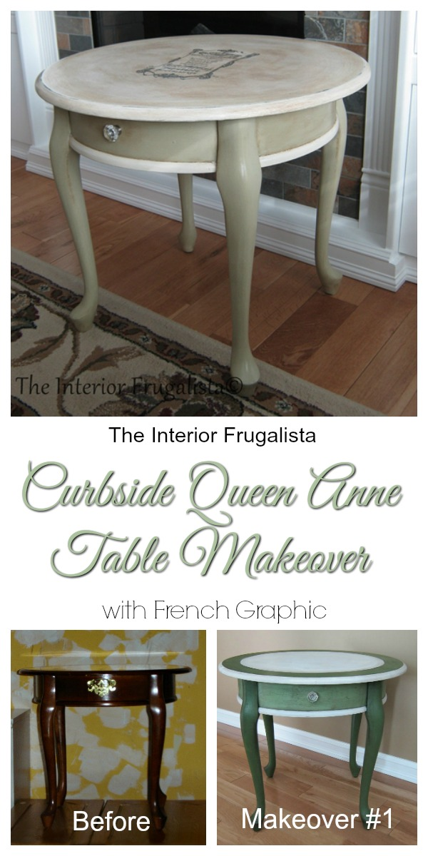 Queen Anne Table with French Graphic Before and After