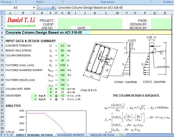 Concrete column design excel example civil engineering program concrete column design excel example ccuart Gallery