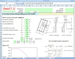 DIRECT BENDING METHOD : Concrete Column Design Based on ACI 318-05 MAGNIFIED MOMENT : Magnified Moment Calculation for Concrete Column Based on ACI 318-05 BRESLER METHOD : Rectangular  Concrete Column Design.