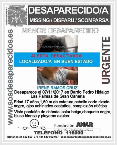 Ha sido localizada la menor de Pedro Hidalgo que se  encontraba desaparecida Irene Ramos Cruz en buen estado