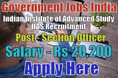 Indian Institute of Advanced Study IIAS Recruitment 2017