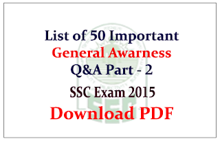List of 50 important General Awareness Questions and Answers Download in PDF